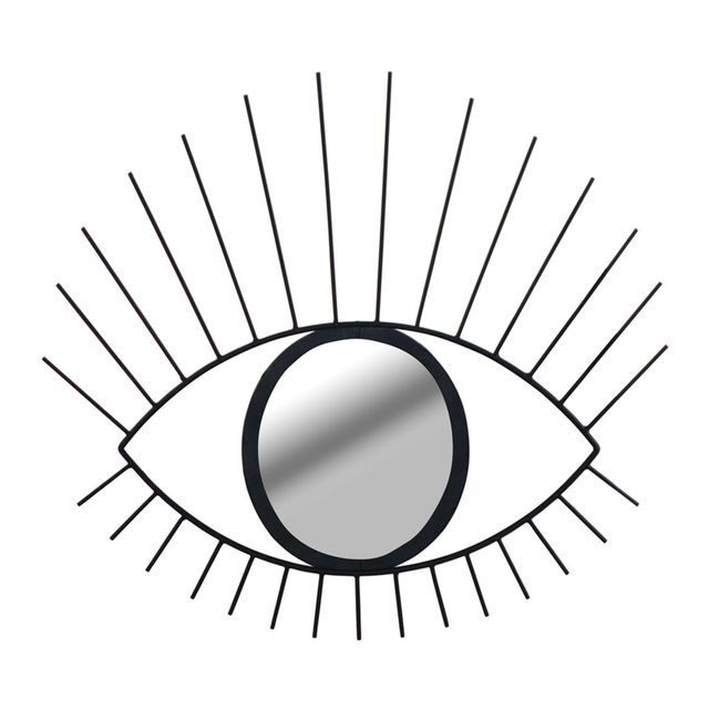 Alinéa - Eye Miroir mural en forme dil en métal noir H51cm - pas ...