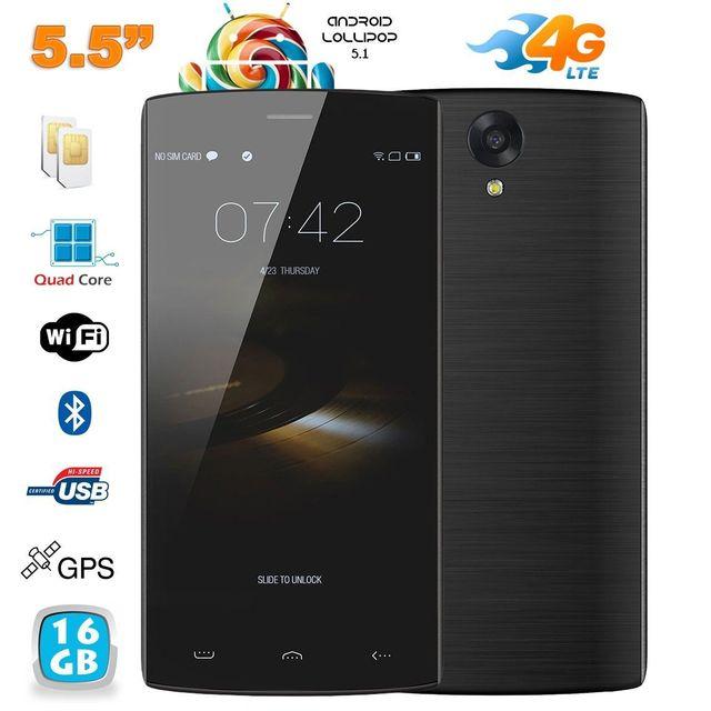 Yonis Smartphone 4G Android 5.1 Quad Core dual Sim 5.5 pouces 16 Go noir