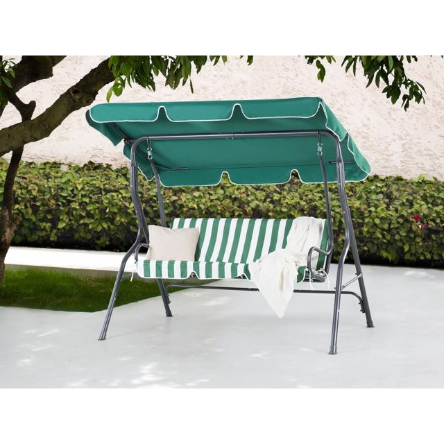 Beliani Balancelle de jardin - balancelle en métal et tissu vert et blanc - Chaplin