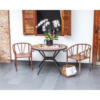 Table De Jardin Vendue Seule Meuble de jardin - Table de jardin acier et  mosaique en céramique ronde - Ø 110 cm