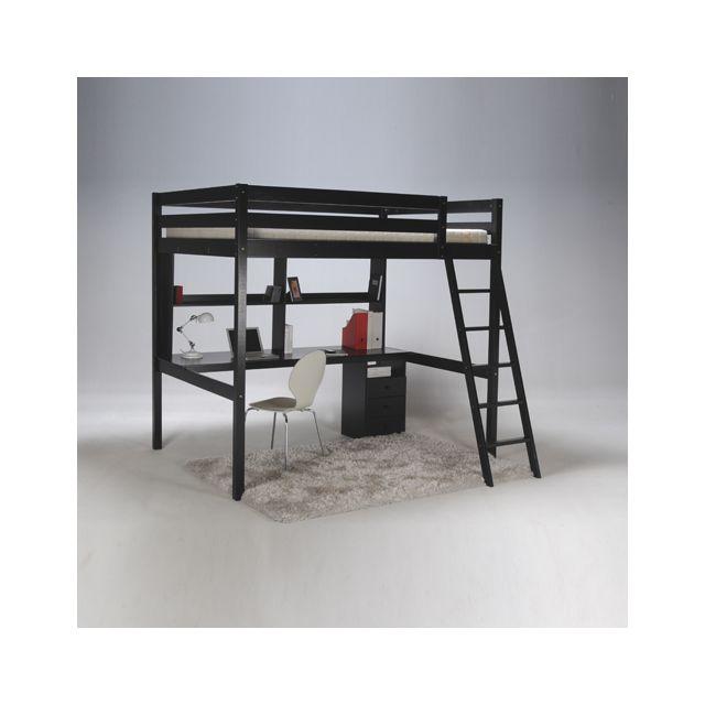 no name lit mezzanine 140x190 studio caisson 3 tiroirs bureau tag re 1 sommier noir. Black Bedroom Furniture Sets. Home Design Ideas