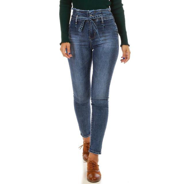 a82473da54f9 Lamodeuse - Jeans bleu taille haute avec ceinture - pas cher Achat ...