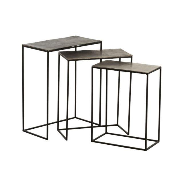 La Chaiserie Set de 3 Tables gigognes rectangulaires Design Noir Vieilli