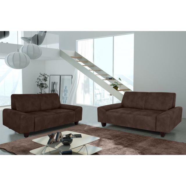 Rocambolesk Canapé Quick 3+2 Tobago 14 brun+pieds venge sofa divan