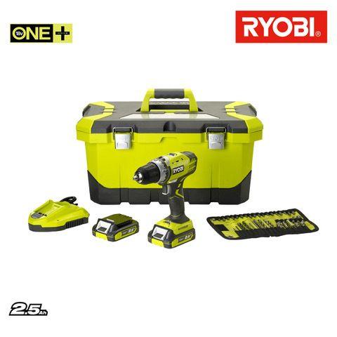 RYOBI - Perceuse-Visseuse 14.4V - 2 batteries Lithium-ion 2.5Ah - Chargeur Rapide - Caisse à outils R14DDE-LL25T