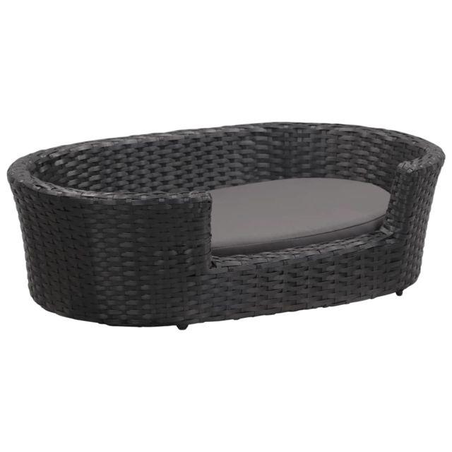 Vidaxl Lit pour chiens avec coussin Noir 70x50 cm Résine tressée
