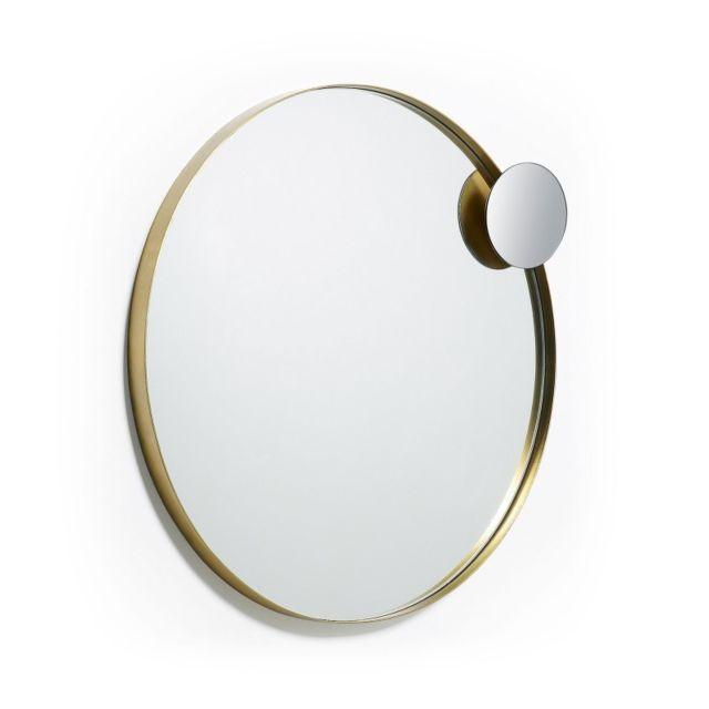 Ma Maison Mes Tendances Miroir rond 76 cm métal doré Awen - L 76 x l 76 x H 6