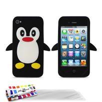 """Muzzano - Coque Souple """"Le Pingouin"""" Premium Noir pour Apple Iphone 4 + 3 Films de protection ?cran"""