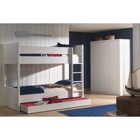 Ensemble 3 pièces pour chambre à coucher moderne pour enfant avec lit  superposé 90x200 cm, tiroir-lit et armoire 3 portes coloris blanc