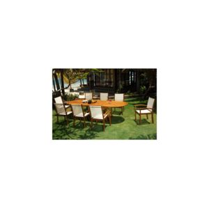Wood-en-Stock - salon de jardin en teck et Batyline 8 places table ...