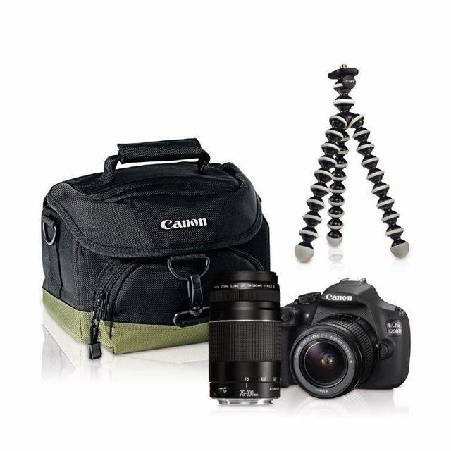CANON - Appareil photo reflex - 1200D 18-55 + 75-300 + Trépied + Sacoche