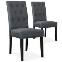 MENZZO - Lot de 2 chaises Costel Tissu Gris pieds noirs