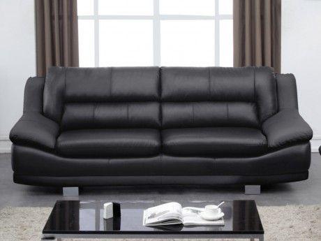 VENTE-UNIQUE Canapé 3 places en cuir THOMAS - Noir