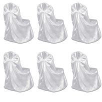 Housse De Chaise Blanche Pour Le Banquet De Mariage 6 Pièces Blanc
