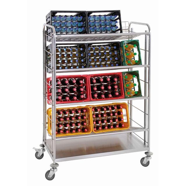 Bartscher Chariot transport de caisses de boissons avec 4 clayettes grillagees