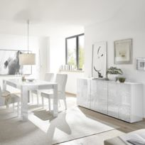 Salle à manger design blanc laqué buffet 180 cm Nerina