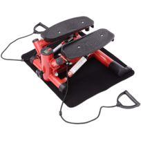 HOMCOM - Mini stepper a pression hydraulique avec corde elastique rouge 77