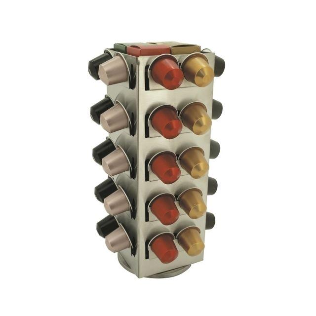 Porte capsules avec rangement central - Stockage 80 capsules