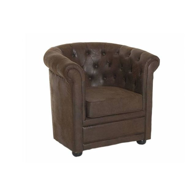 Inside 75 Fauteuil Chesterfield Zoe Microfibre Marron