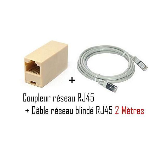 cabling rj45 femelle vers rj45 femelle cable ethernet cat6 2 m tres pas cher achat vente. Black Bedroom Furniture Sets. Home Design Ideas