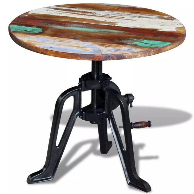 Joli Consoles categorie Port-Louis Table auxiliaire 60 x 42-63, cm bois de récupération massif Fonte