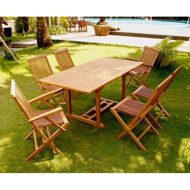 Design et Prix - Magnifique Salon de jardin teck 6 rectangle: table ...