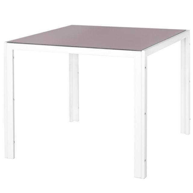 Ma Maison Mes Tendances - Table de jardin carrée en acier blanc et ...