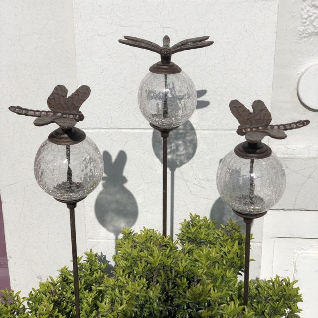 L'ORIGINALE Deco 3 Pics Tige Tuteurs Porte Plante de Jardin Blanc Libellule Marron 117 cm