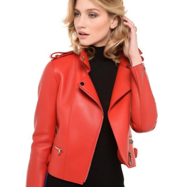 cc12f01ea5f19 Arturo - Blouson Cuir style perfecto tendance Taille Femme - 44, Couleur -  rouge