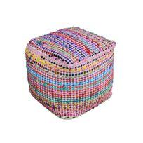 The Rug Republic - Pouf Madrid Multicolore 40 X 40 X 40