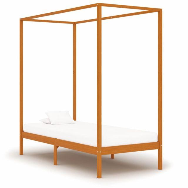 Vidaxl Cadre de lit à baldaquin Marron miel Pin massif 90x200 cm