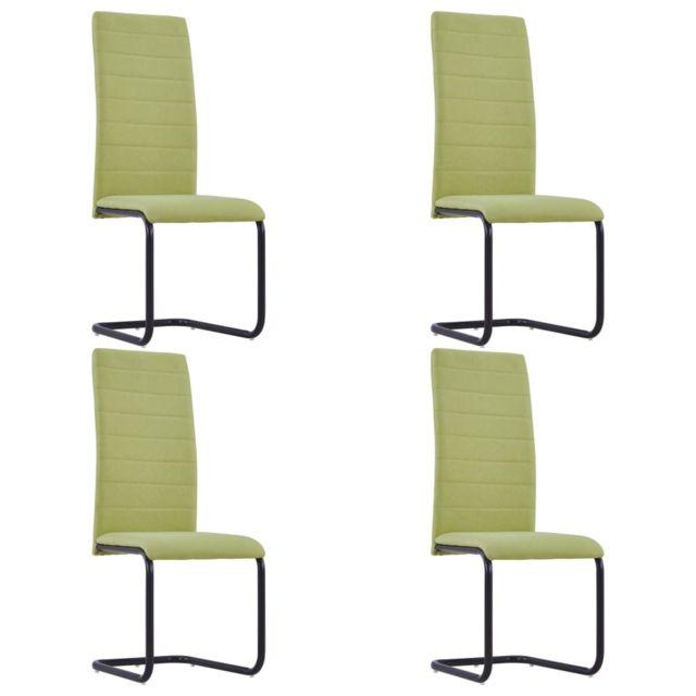 Stylé Fauteuils et chaises categorie Tokyo Chaises de salle à manger 4 pcs Vert Tissu