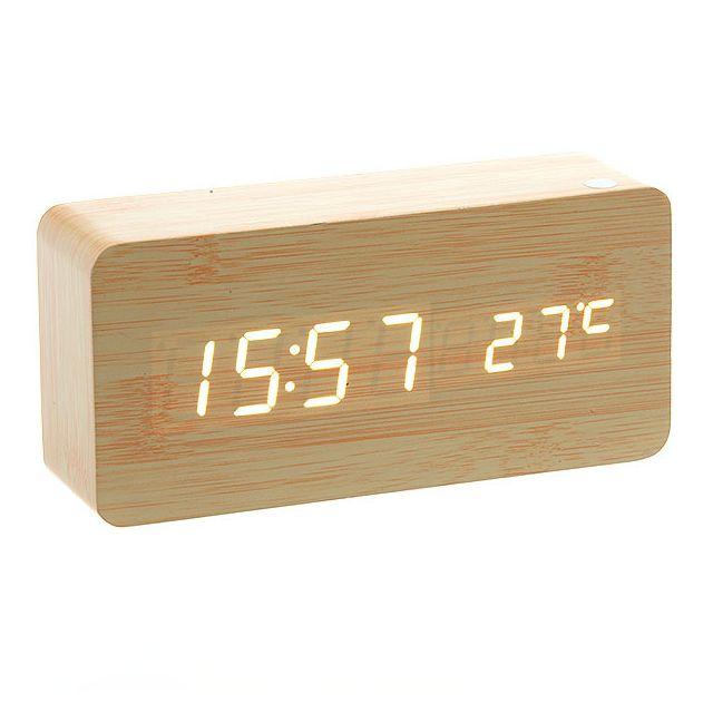 Horloge Réveil Alarme Digital LED en Bois Imitation Thermomètre Température USB AAA_BR