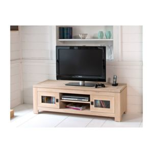 hellin meuble tv bas en ch ne blanchi boston pas cher achat vente meubles tv hi fi. Black Bedroom Furniture Sets. Home Design Ideas