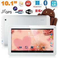 Tablette tactile 10 pouces 3G Double Sim Quad Core WiFi Gps 24Go Blanc