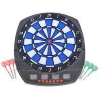HOMCOM - Cible jeu de fléchettes électronique 243 jeux variés jusqu'à 16 joueurs LED haut-parleur noir 08
