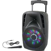 Ibiza Sound - Party-8led enceinte portable 8p/20cm - 300w avec usb, bluetooth, fm, et micro filaire