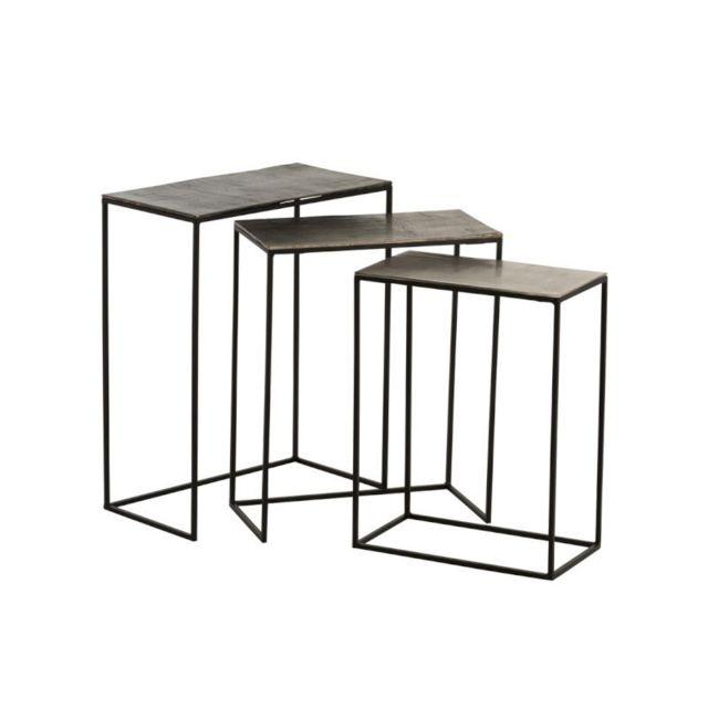Tousmesmeubles Trio de Tables gigognes Métal/Aluminium - Juliana