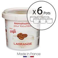 Lagrange - Lot de 6 pots d'aromatisation pour yaourts Café