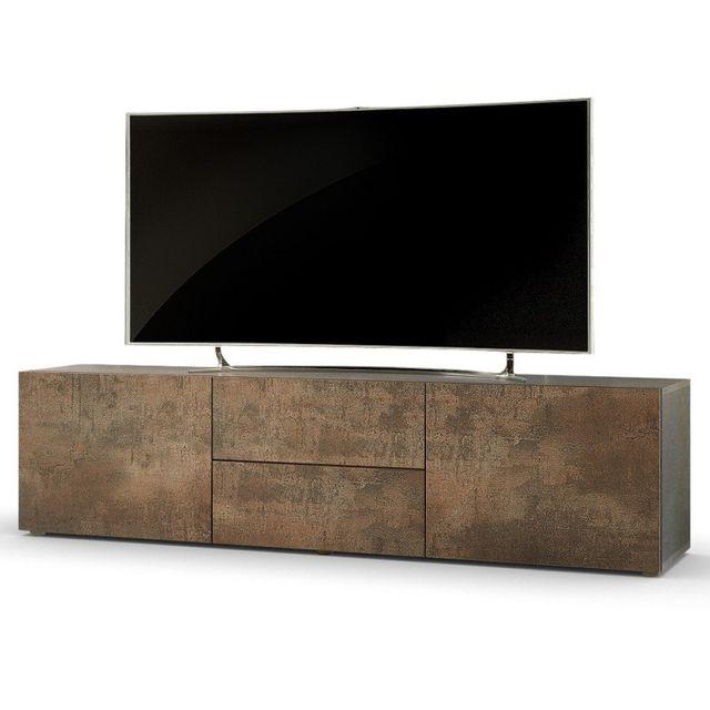 mpc meuble tv bas 139 cm coloris acier antique pas cher achat vente meubles tv hi fi. Black Bedroom Furniture Sets. Home Design Ideas