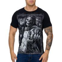 Cabin - T-shirt homme tete de mort T-shirt 3228 noir