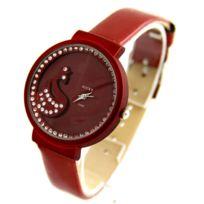 Rocky Montres Femme - Montre Femme Bracelet Cuir Rouge Cygne Rocky 2741