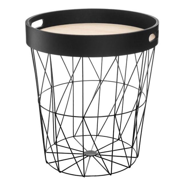 Pegane Table à café noire en métal / plateau bois - D. 35 x H. 38 cm