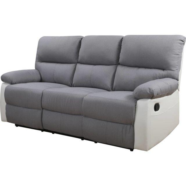HABITAT ET JARDIN - Canapé relax Lincoln - 3 places - Blanc   Gris clair ee8528cb669d