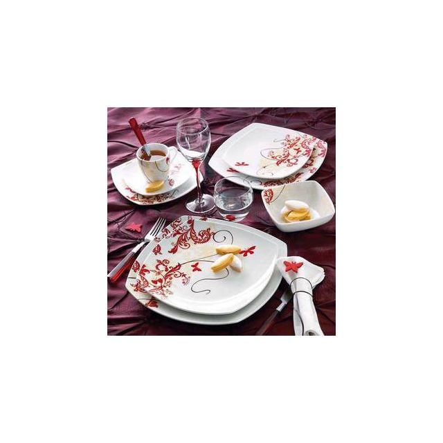2f570d5bc30e5 Luminarc - Service de vaisselle en porcelaine Blanc / rouge - 30 pièces  Fairy Tales