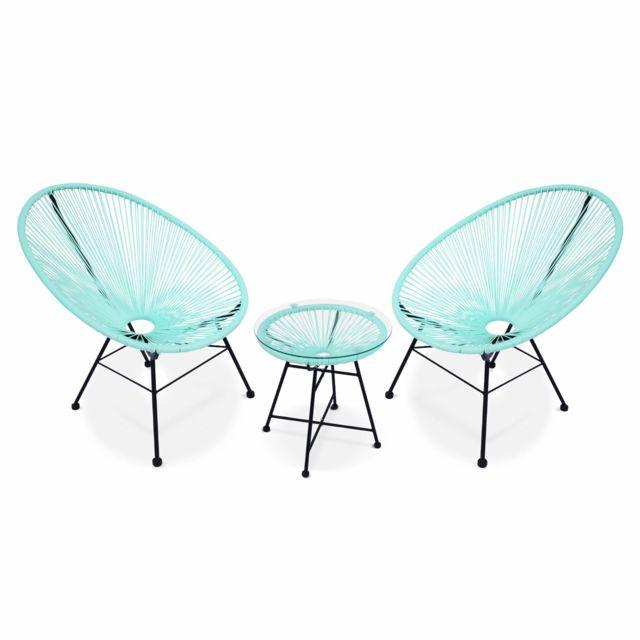 ALICE'S GARDEN Ensemble de 2 fauteuils Acapulco chaise oeuf design rétro, avec table d'appoint, cordage Vert d'eau