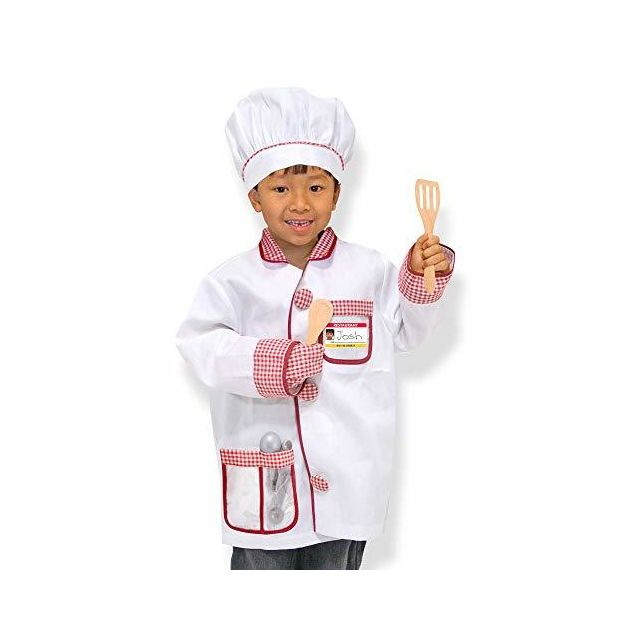 Melissa & Doug Chef Role-Play Costume Set Pretend Play Materials Machine-Washable 17.5\
