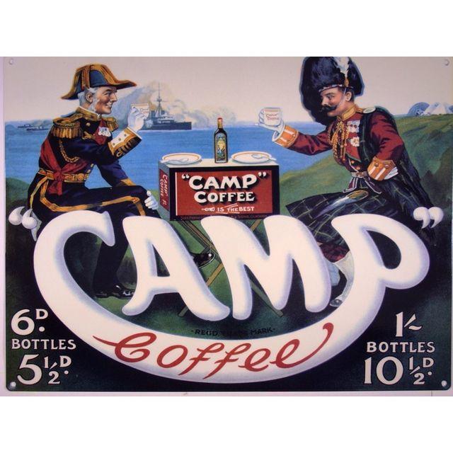 Universel Plaque camp coffee avec 2 militaires affiche tole cuisine