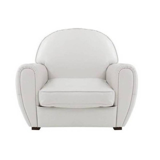 Inside 75 Fauteuil Club blanc en cuir recyclé. Made In Italy