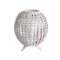 Lussiol - Lampe à poser forme boule en bambou tressé blanc hauteur 42cm Ana